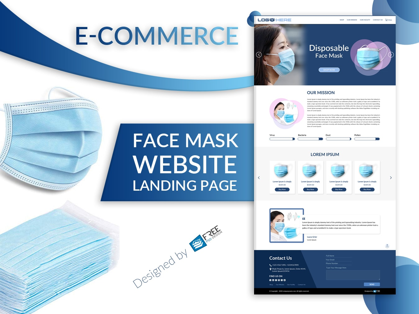 Face mask  website  landing page | E-commerce