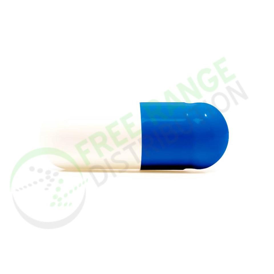 Dark Blue and White Gelatin Capsules