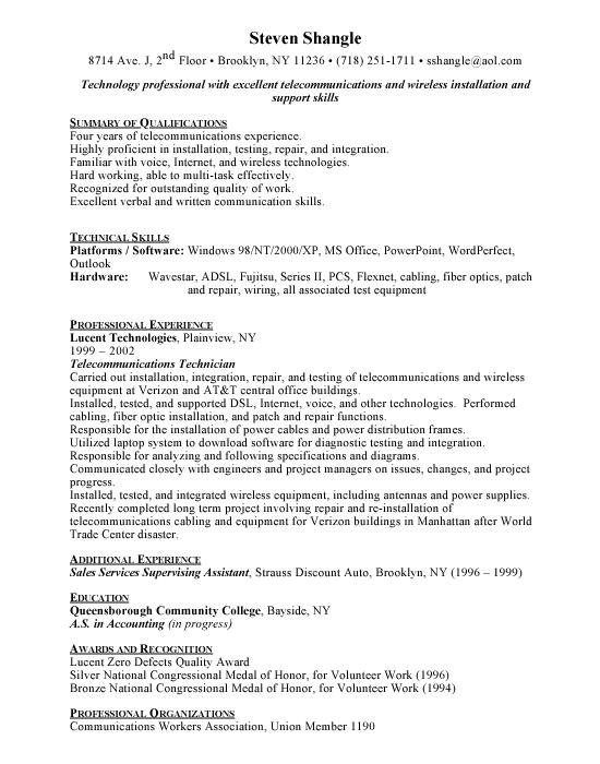 telecommunications technician resume template