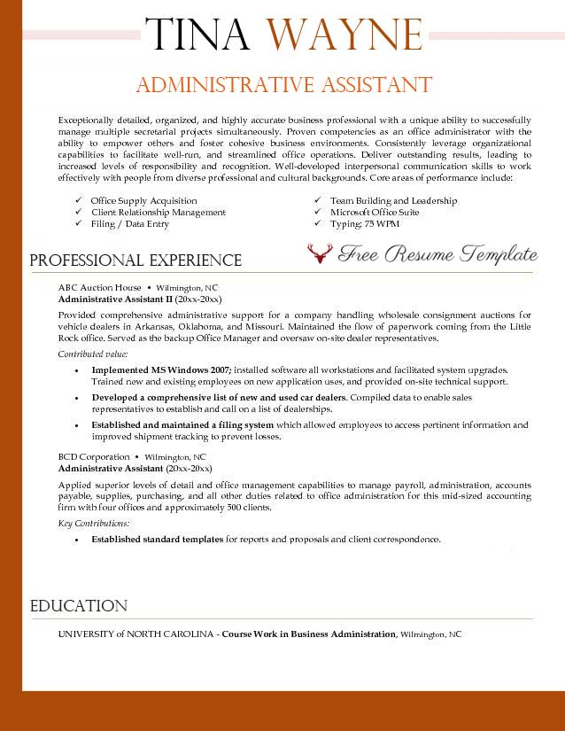 administrative support resume samples