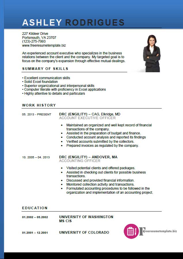 resume format for executive