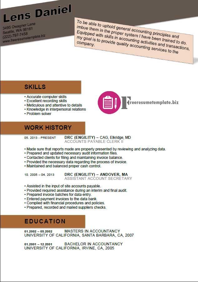 Accounts Payable Resume Template  Free Resume Templates