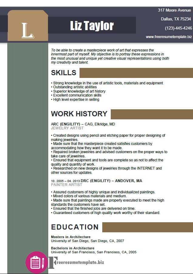Artist Resume Template ⋆ Free Resume Templates