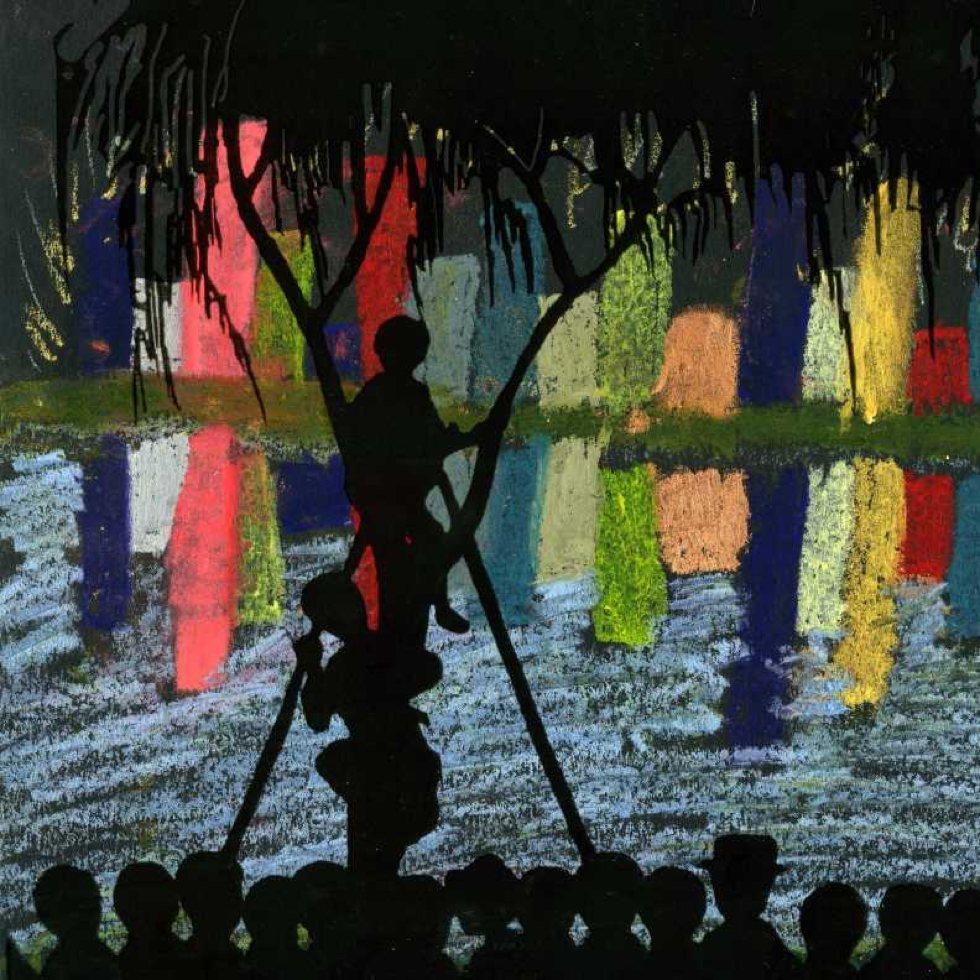 Ariana, age 11, created a beautiful night scene inspired by the art of Kiyochika