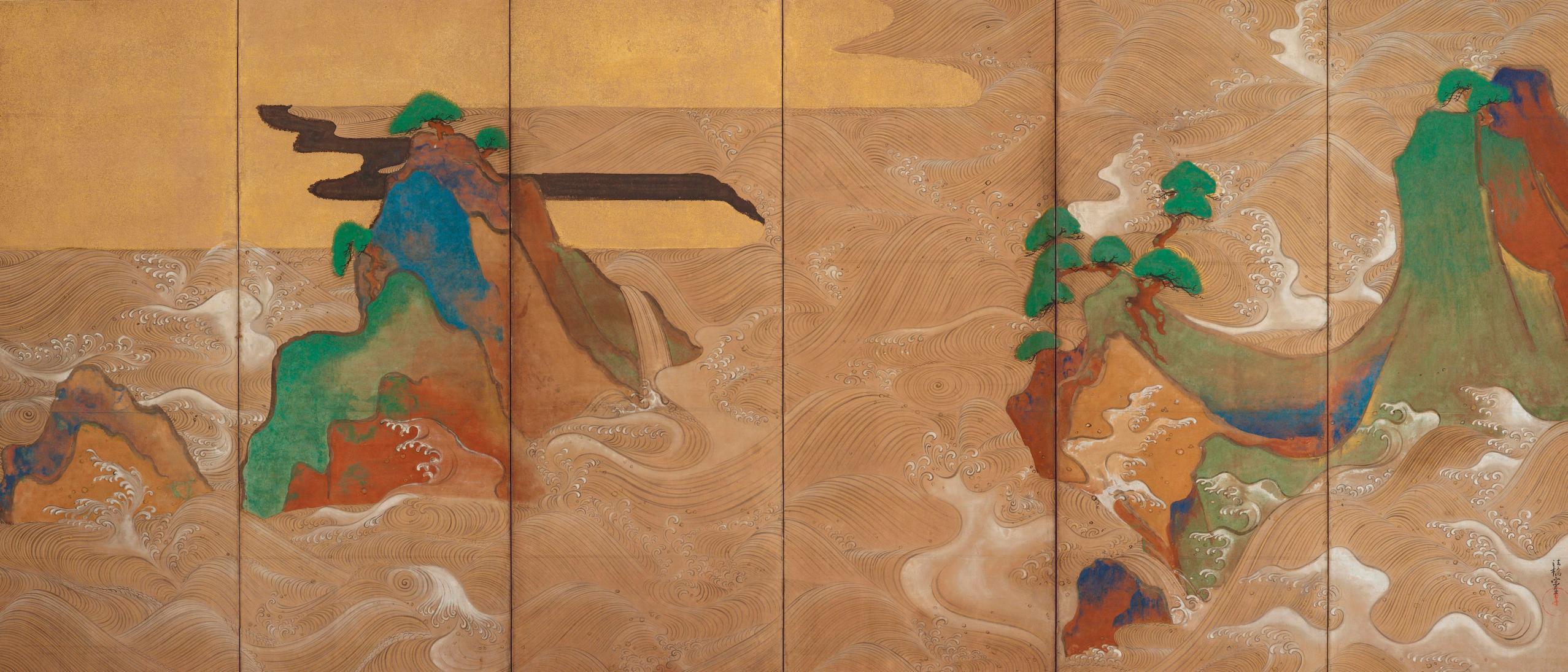 Detail, Waves at Matsushima; Tawaraya Sōtatsu, (act. ca. 1600–40); pair of six-panel folding screens; ink, color, gold, and silver on paper; Freer Gallery of Art, F1906.231–232