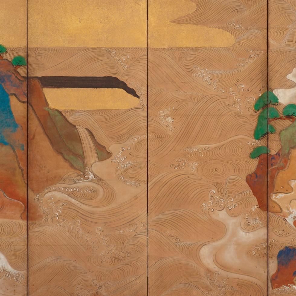 Detail, Waves at Matsushima; Tawaraya Sōtatsu, (act. ca. 1600–40); pair of six-panel folding screens; ink, color, gold, and silver on paper; Freer Gallery of Art, F1906.231–232