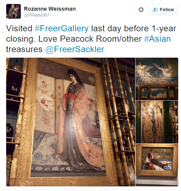 "Instagram collage of four Whistler paintings. ""Visited Freer Gallery last day before 1-year closing. Love Peacock Room/other Asian treasures"""