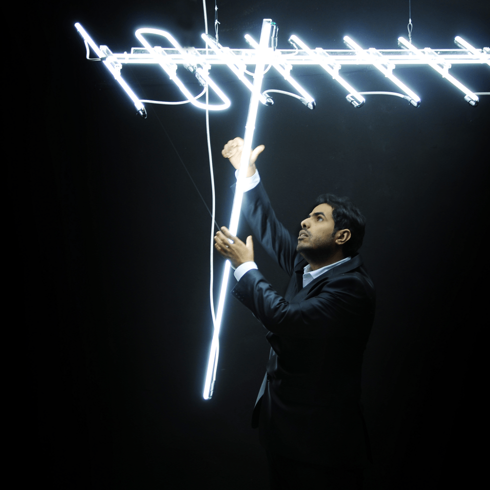 Antenna; Ahmed Mater (Saudi Arabia, b. 1979); 2010; cold cathode lighting; Courtesy of the artist and Athr