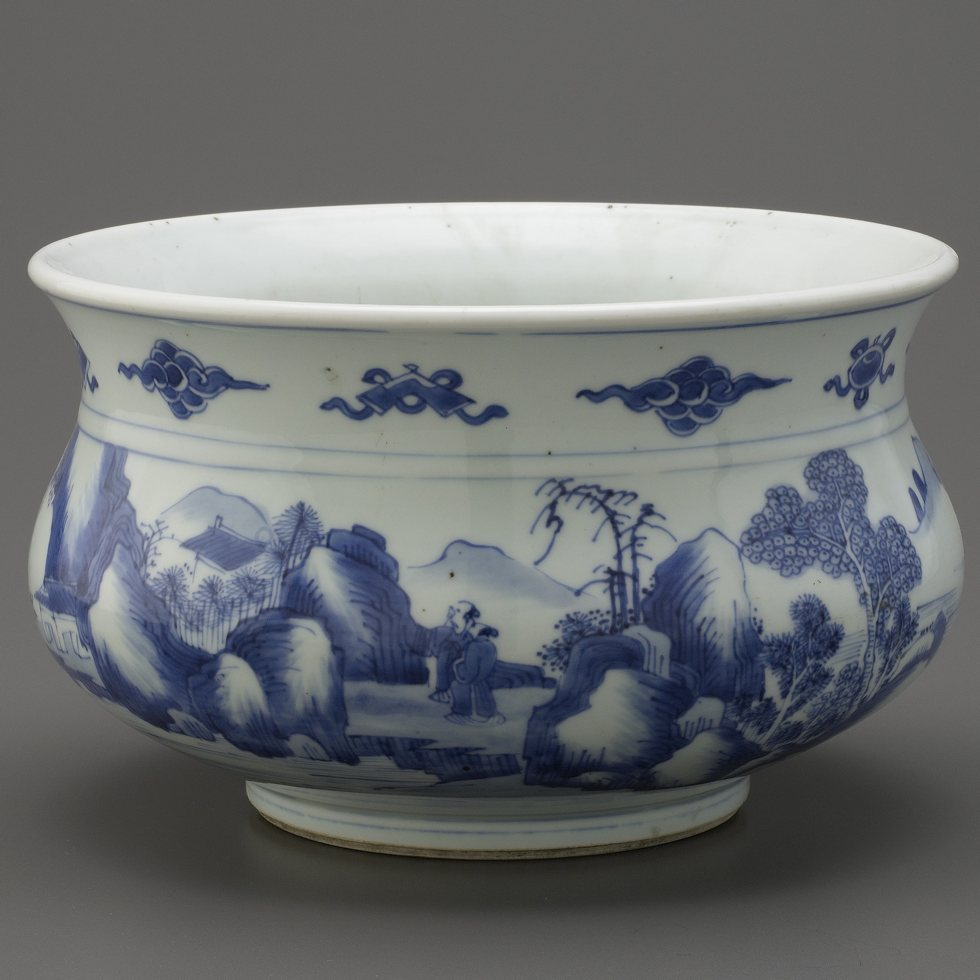 blue and white porcelain incense burner