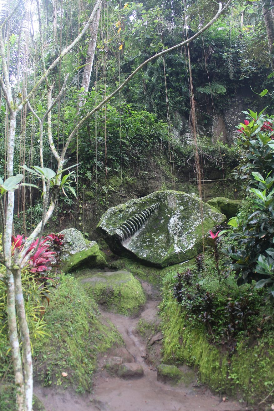 Fragment of relief carving at entrance to jungle path behind Goa Gajah
