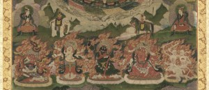Bottom detail of Lamaist mandala, focusing on fiery wrathful deities and skeletons trampling human and other figures.