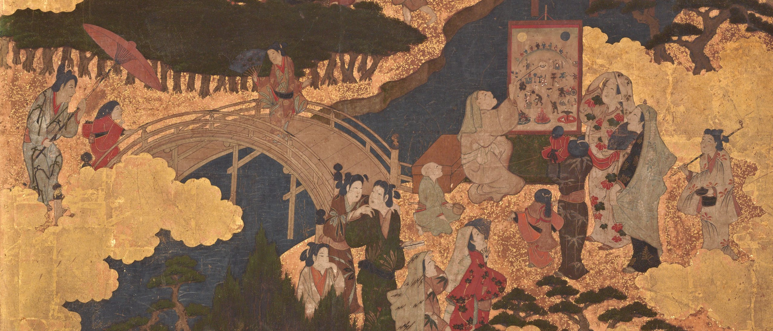 Detail from A Festival at the Sumiyoshi Shrine, two-panel screen, F1900.26