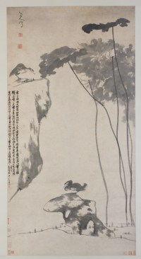 Lotus and Ducks Hanging scroll