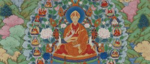 Detail, The Qianlong Emperor as Manjusri, the Bodhisattva of Wisdom Thangka (unmounted), F2000.4 image