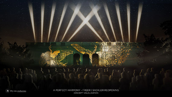 A Perfect Harmony - Freer | Sackler Reopening concept visualization; Freer building with fighting peacocks projected onto it.