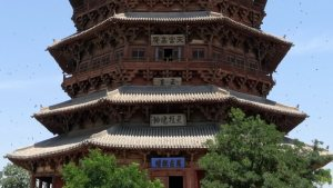 Tiered roofs of a pagoda.