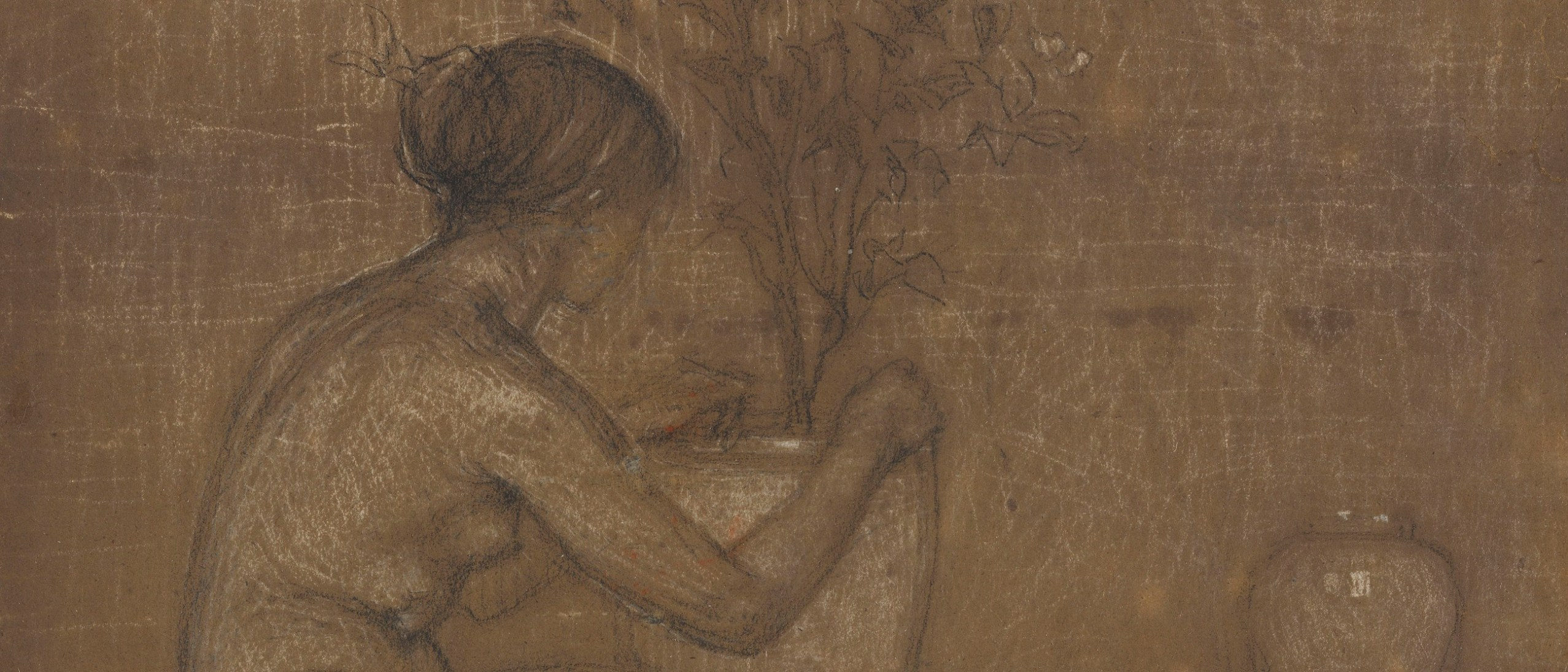 Detail, Crouching Figure: Study for The White Symphony: Three Girls. 1869–70; Black and white chalk on brown paper; Freer Gallery of Art, Gift of Charles Lang Freer, F1902.139 image