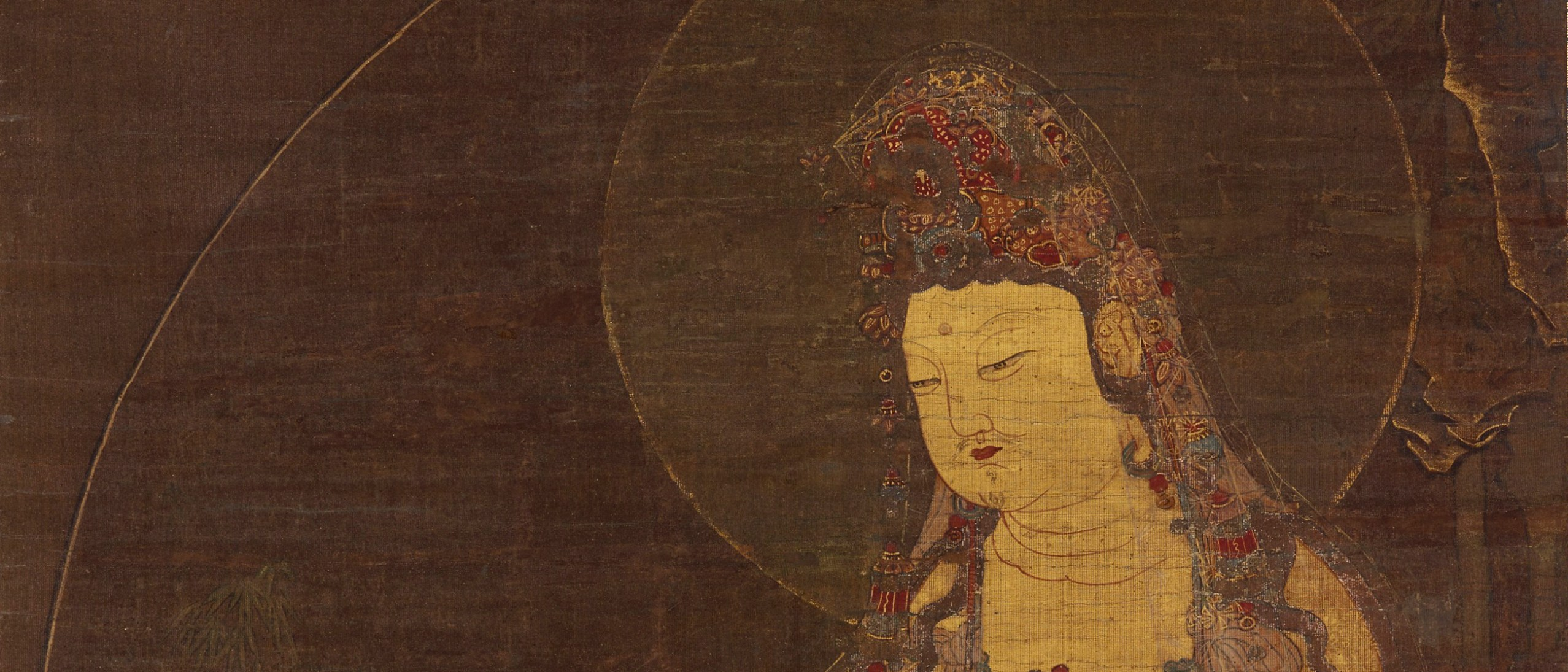 Detail image, Water-Moon Avalokitesvara (Suwol Gwaneum bosal); Korea, mid-14th century; hanging scroll; ink, color, and gold on silk; Gift of Charles Lang Freer, F1904.13