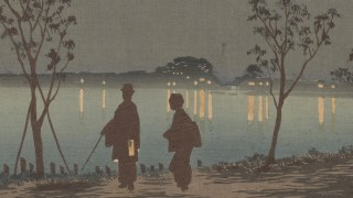Detail image, Sumida River by Night 隅田川夜, Kobayashi Kiyochika; Japan, 1881; Woodblock print; ink and color on paper; Robert O. Muller Collection; S2003.8.1203