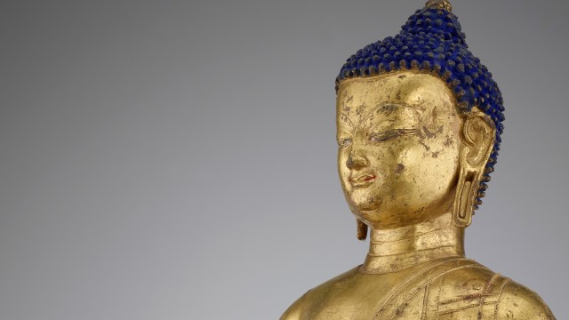detail, blue haired buddha