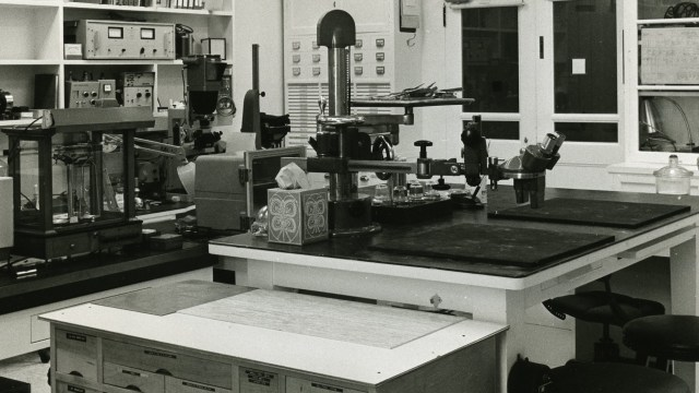 black and white archival photo of the Freer tech lab