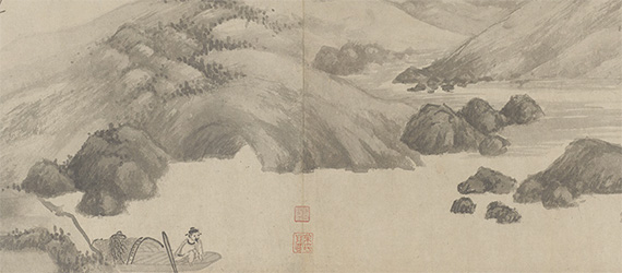 Detail of ink painting, depicting man in a boat, on a stream, with mountains in the background.
