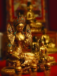 Detail, Tibetan Buddhist Shrine Room, on view in Encountering the Buddha