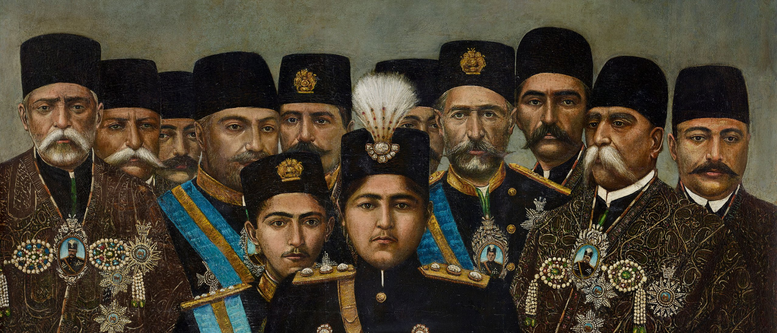 deatil from Ahmad Shah Qajar and his Cabinet - 11 men stand behind two central figures