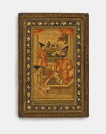 Mirror case with Muhammad Shah, Prince Nasir al-Din, and Haji Mirza Aqasi