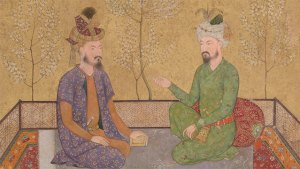 two mughal men speaking, detail from an artwork