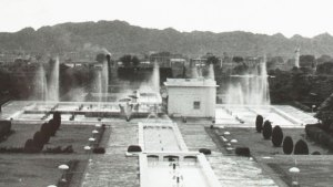 a detail from a black and white photo, many rectangular structures