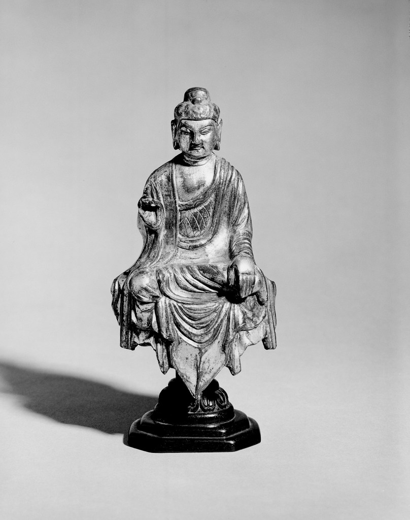 Photo, Gilt bronze seated Amitabha. Tang dynasty, 8th century., H: 12.9 cm. (5 1/16 in.) Singer catalogue number: [1356].