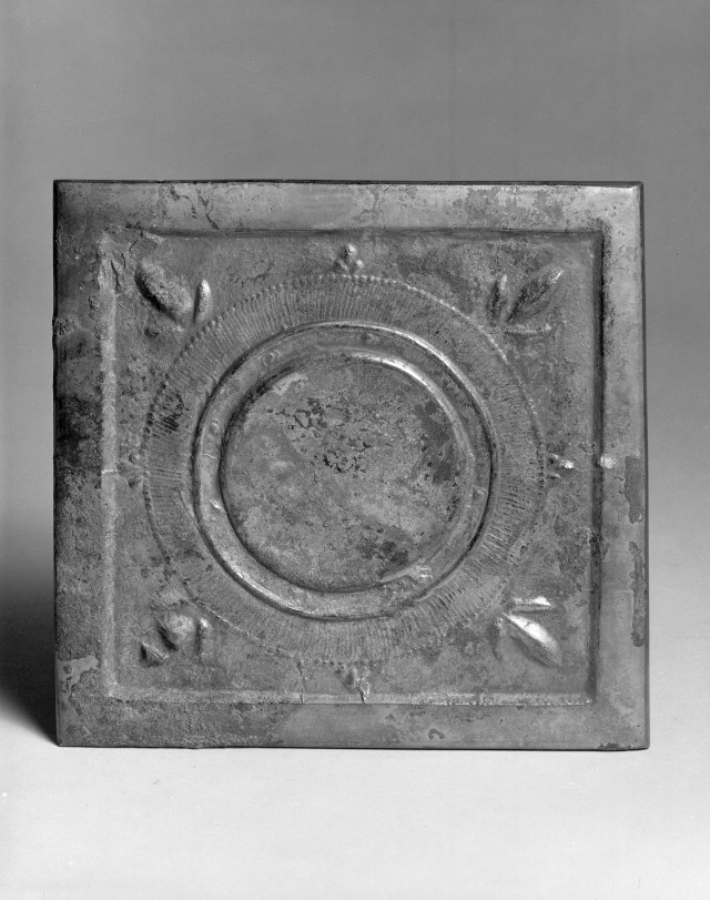 Photo of Bronze square mirror. Tang dynasty, 7th century., H: 13 cm. (5 1/8 in.). Singer catalogue number: [1399].