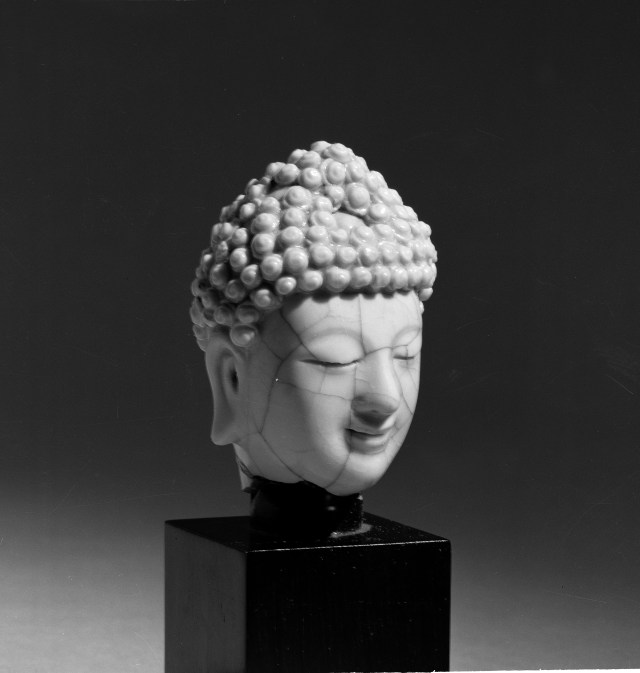 Photo, Dehua ware head of Buddha. Ming dynasty, 1368–1644., H: 6.4 cm. (2 1/2 in.) Singer catalogue number: [1676].