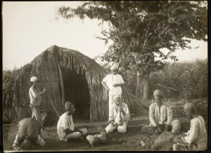 Photo, Men Outside a Hut, Sevruguin, Antoin,; b&w ; 22.5 cm. x 16.5 cm.; Myron Bement Smith Collection: Antoin Sevruguin Photographs. Freer Gallery of Art and Arthur M. Sackler Gallery Archives. Smithsonian Institution, Washington D.C. Gift of Katherine Dennis Smith, 1973-1985