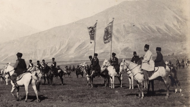 Photo, Dasht-i Lar Region, Mount Damavand in Background: Shah's Escort Regiment Sevruguin, Antoin, 1870s-1930, b w ; -- cm. x -- cm. FSA_A2012.02_01