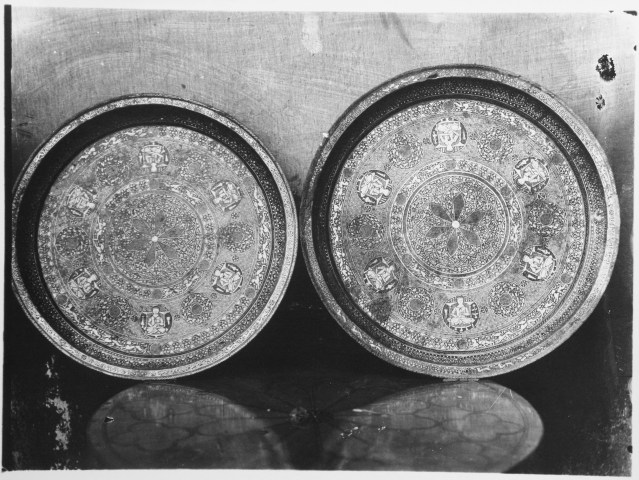 Silver-Inlaid Copper Tray with Inscriptions Depicting Signs of Zodiac