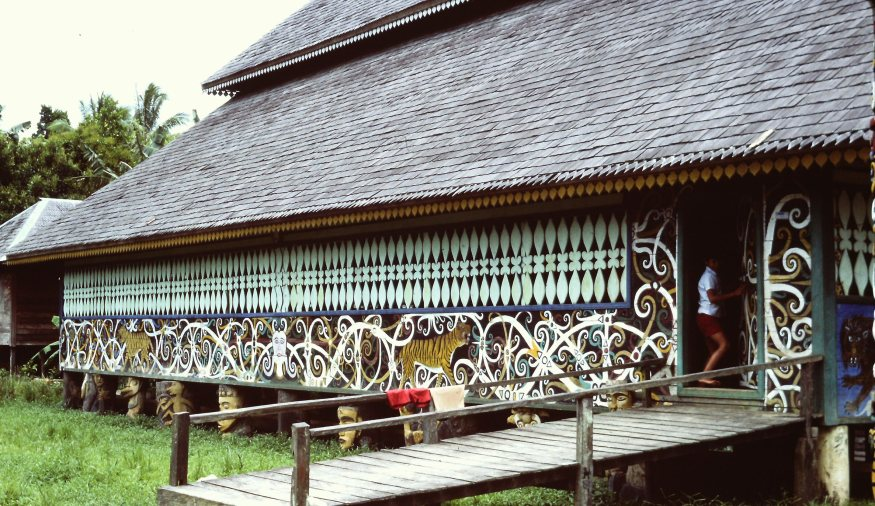 Village Hall longhouse decorated with geometric and scrolling motifs with tigers and faces.
