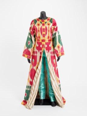 Evening ensemble. Polychrome silk embroidery and silk taffeta; pants of silk shatung
