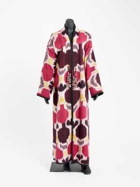 Coat with red and black pomegranate design
