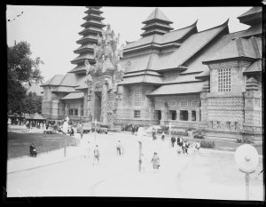 Wide view of the Dutch East Indies Pavilion at the 1931 Paris Colonial Exposition