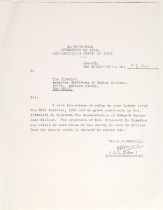 To: The Director, American Institute of Indian studies, D-176, Defence Colony, NEW DELHI. Sir, I have the honour to refer to your letter dated the 29th December, 1983 and to grant permission to Mrs. Elizabeth B. Moynihan for documentation of Babar's Garden near Dholpur. The programme of Mr.s Elizabeth B. Moynihan may please be made known to the Survey so that an Officer from the Survey could be deputed to assist her. Yours faithfully, (M.D. Khare) Director (Monuments)