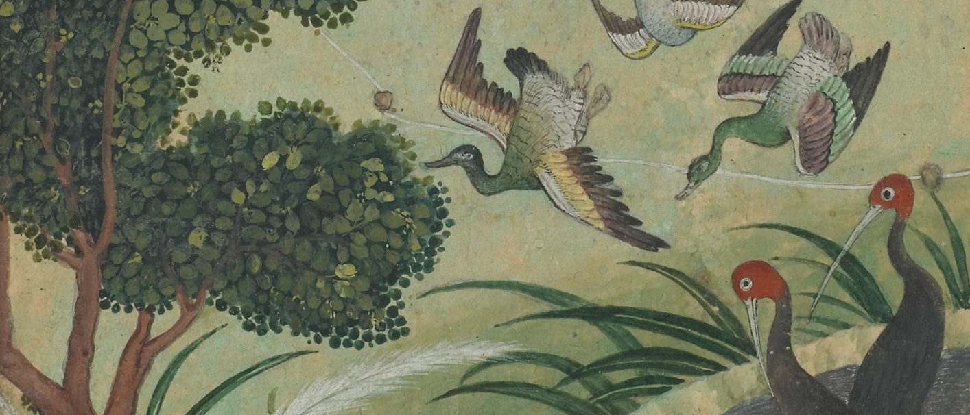 Detail of painting of birds among foliage