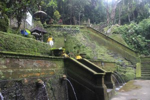 Multilevel bathing place at base of stairs, in the jungle