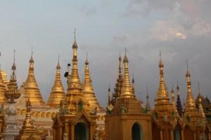 Golden stupa spires