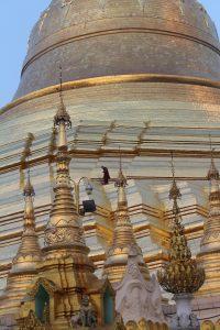 Golden stupa close up, at sunset