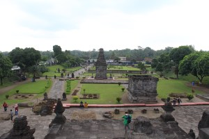 Temple complex with green lawns, seen from above