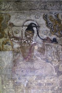 Fresco painting of the Buddha cutting his long hair