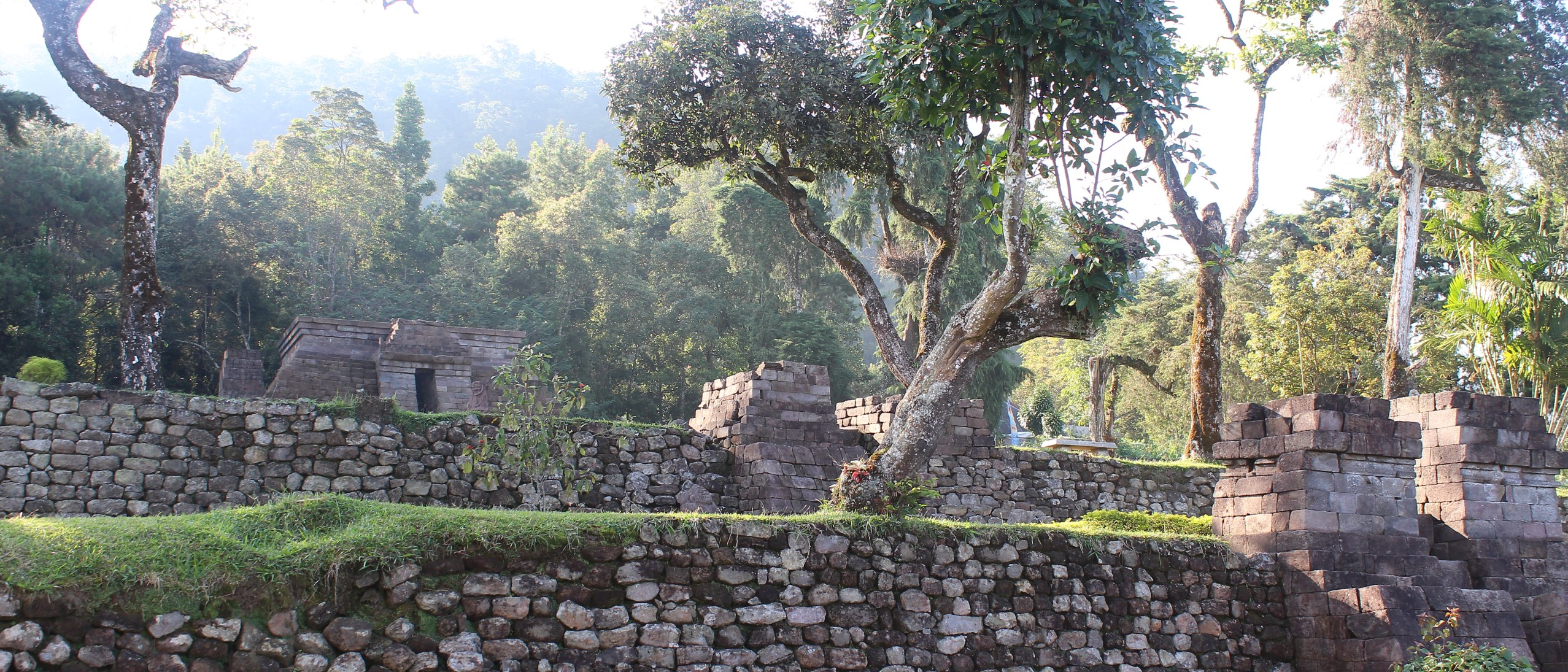 Pyramidal-terraced temple built into forested mountainside, the rising sun casting light from behind through the