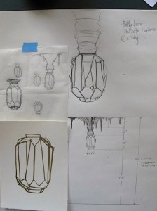 Sketches of ceiling lamp designs